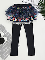 cheap -Girls' Embroidered Pants, Cotton Fall All Seasons Dresswear Lace Blushing Pink Navy Blue