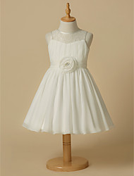 cheap -A-Line Knee Length Flower Girl Dress - Chiffon Lace Sleeveless Scoop Neck with Sash / Ribbon Flower by LAN TING Express