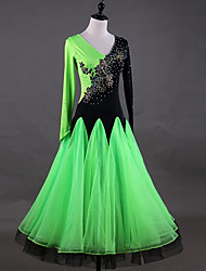 cheap -Ballroom Dance Dresses Women's Performance Spandex Crystals / Rhinestones / Split Joint / Ruching Long Sleeve Dress