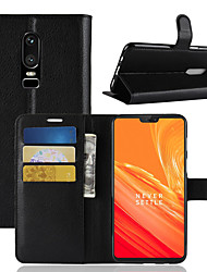 cheap -Case For OnePlus OnePlus 6 / OnePlus 5T Card Holder / Wallet / Flip Full Body Cases Solid Colored Hard PU Leather for OnePlus 6 / One