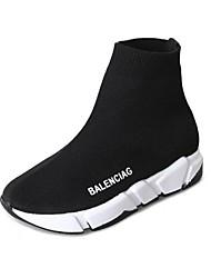 baratos -Mulheres Sapatos Tricô Primavera Conforto Botas Sem Salto para Casual Branco Preto