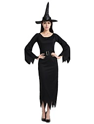 cheap -Witch Outfits Unisex Halloween Carnival Day of the Dead Masquerade Festival / Holiday Halloween Costumes Black Solid Colored Halloween