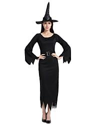 Недорогие -ведьма Костюм Универсальные Хэллоуин Хэллоуин Карнавал Маскарад Фестиваль / праздник Полиэстер Инвентарь Черный Однотонный Halloween