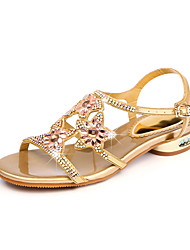 cheap -Women's Shoes PU Spring Summer Gladiator Sandals Flat Heel Peep Toe Rhinestone Crystal for Party & Evening Gold Purple Blue