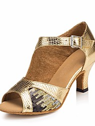 cheap -Women's Latin Shoes PU(Polyurethane) Heel Stiletto Heel Dance Shoes Gold / Performance / Leather / Practice