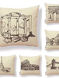 cheap -6 pcs Textile / Cotton / Linen Pillow case, Art Deco / Architecture / Printing Artistic / Square Shaped