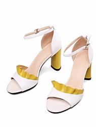 preiswerte -Damen Schuhe Leder Sommer Pumps Komfort Sandalen Stöckelabsatz für Normal Weiß