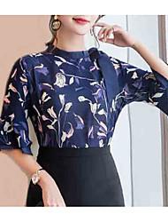 abordables -Mujer Noche Blusa, Escote Chino Floral