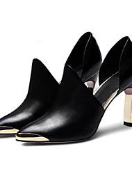 preiswerte -Damen Schuhe Leder Nappaleder Frühling Pumps Komfort High Heels Stöckelabsatz für Normal Schwarz Rot