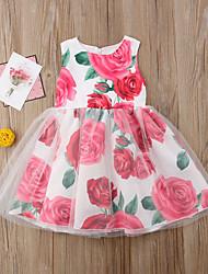 economico -Bambino (1-4 anni) Da ragazza Fantasia floreale / Collage Senza maniche Vestito