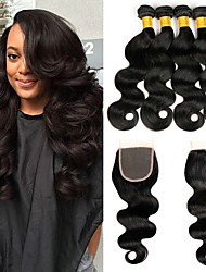 cheap -3 Bundles with Closure Malaysian Hair / Body Wave Wavy Human Hair Hair Weft with Closure Human Hair Weaves Soft / New Arrival / Hot Sale Natural Color Human Hair Extensions Women's