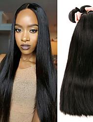 abordables -3 offres groupées Cheveux Malaisiens Droit Non Traités / Paquets de 100% Remy Hair Weave Extensions Naturelles Noir Couleur naturelle Tissages de cheveux humains Doux / Nouvelle arrivee / Pour