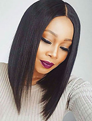 cheap -Synthetic Lace Front Wig Synthetic Wig Straight Middle Part Adjustable Heat Resistant For Black Women African American Wig Natural