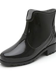 Недорогие -Жен. Обувь КожаПВХ Наступила зима Резиновые сапоги Ботинки Для прогулок На низком каблуке Ботинки Черный / Красный / Синий