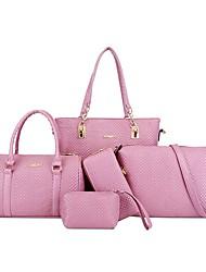 baratos -Mulheres Bolsas PU Conjuntos de saco 5 Pcs Purse Set Ziper / Com Relevo Rosa / Cinzento / Roxo