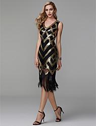 billiga -Åtsmitande V-hals Telång Polyester Glitter och glans Cocktailfest Klänning med Paljett av TS Couture®