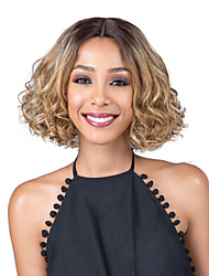 cheap -Human Hair Lace Wig Curly Bob Haircut / Middle Part Synthetic Hair Fashionable Design / Party Light Brown Wig Women's Short Natural Wigs