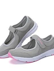 abordables -Femme Chaussures Tricot / Tulle Eté / Automne Confort Basket Talon Plat Noir / Gris / Rouge Foncé