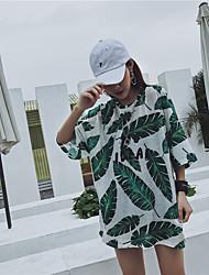 billige -Dame Basale Skift / T Shirt Kjole - Blomstret / Geometrisk, Trykt mønster Over knæet Tropisk blad