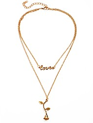 cheap -Women's Layered Chain Necklace / Layered Necklace - Floral / Botanicals, Alphabet Shape, Flower Gold, Silver 44+6 cm Necklace For Daily