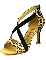 cheap -Women's Latin Shoes / Salsa Shoes Suede / Canvas Sandal / Heel Buckle / Ribbon Tie Customized Heel Customizable Dance Shoes Black / Yellow / Red / Performance / Leather / Professional