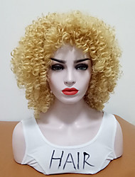 cheap -Synthetic Wig Curly Side Part Synthetic Hair Heat Resistant / With Bangs Blonde Wig Women's Mid Length Capless / Yes