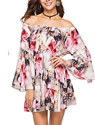 baratos -Mulheres Moda de Rua / Sofisticado balanço Vestido Floral Acima do Joelho