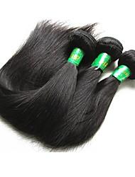 baratos -3 pacotes Cabelo Indiano / Pacotes Liso Cabelo Virgem / Cabelo Remy Extensões de Cabelo Natural Tramas de cabelo humano Macio / Nova chegada / Venda imperdível Côr Natural Extensões de cabelo humano
