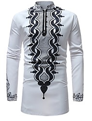 baratos -Homens Camisa Social Básico Estampado, Geométrica