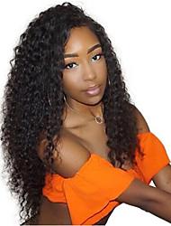 Недорогие -Remy Полностью ленточные Парик Бразильские волосы / Кудрявый Кудрявые Кудрявый Парик 150% Природные волосы / С отбеленными узлами Жен. Длинные Парики из натуральных волос на кружевной основе