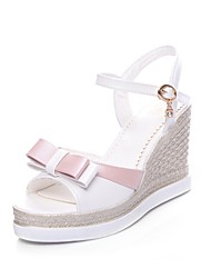 cheap -Women's Shoes Leatherette Spring / Summer Comfort / Gladiator Sandals Wedge Heel Open Toe Buckle White / Blue / Pink / Wedge Heels