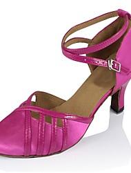 baratos -Mulheres Sapatos de Dança Moderna Cetim / Courino Sandália / Salto Salto Cubano Personalizável Sapatos de Dança Rosa claro / Espetáculo