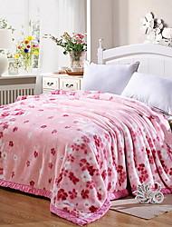 cheap -Coral fleece, Jacquard Flower Cotton / Polyester Blankets