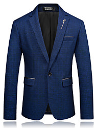 cheap -Men's Party Daily Business Casual Slim Blazer-Solid Colored Peaked Lapel / Long Sleeve