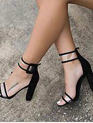 preiswerte -Damen Schuhe PU Sommer Komfort Sandalen Blockabsatz Schwarz / Blau / Burgund / Block Fersen Sandalen / Keilabsätze