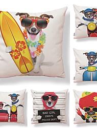 cheap -6 pcs Textile / Cotton / Linen Pillow case, Dog / Printing / Animal Square Shaped / Accent / Decorative