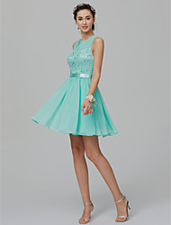 cheap -A-Line / Princess Jewel Neck Short / Mini Chiffon / Lace Cocktail Party Dress with Beading / Sash / Ribbon by TS Couture®