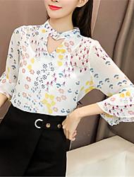 Недорогие -Жен. Рубашка Вырез под горло Контрастных цветов