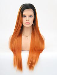 abordables -Perruque Lace Front Synthétique Droit Coupe Dégradée Cheveux Synthétiques Résistant à la chaleur Marron Perruque Femme Long Dentelle frontale Orange / Oui
