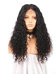 Недорогие -Remy Полностью ленточные Парик Бразильские волосы Кудрявый Парик Средняя часть 180% Природные волосы / С отбеленными узлами Жен. Длинные Парики из натуральных волос на кружевной основе