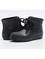 Недорогие -Жен. Латекс Осень Резиновые сапоги Ботинки На плоской подошве Черный