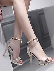 cheap -Women's Shoes Customized Materials Spring & Summer Basic Pump Sandals Stiletto Heel Open Toe Sparkling Glitter Black / Almond
