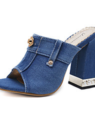 cheap -Women's Shoes Denim Spring / Summer Novelty / Comfort Sandals Chunky Heel for Casual / Party & Evening Black / Blue