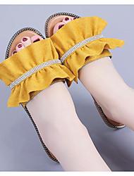 baratos -Mulheres Sapatos Linho Verão Conforto Chinelos e flip-flops Sem Salto para Casual Branco Preto Amarelo