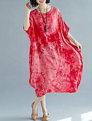 お買い得  -女性用 シフト ドレス ソリッド ミディ