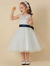 cheap -A-Line Knee Length Flower Girl Dress - Lace / Tulle Sleeveless Scoop Neck with Bow(s) / Sash / Ribbon by LAN TING BRIDE®