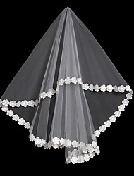 cheap -One-tier Mesh / Convertible Dress / Headpieces Wedding Veil Fingertip Veils 53 Fringe / Splicing 59.06 in (150cm) POLY / Lace / Tulle