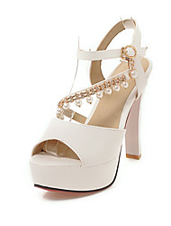 cheap -Women's Shoes Leatherette Summer Comfort Sandals Chunky Heel Open Toe Imitation Pearl / Buckle White / Beige / Pink / Party & Evening
