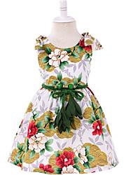 economico -Bambino (1-4 anni) Da ragazza Fantasia floreale Senza maniche Vestito