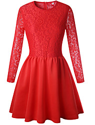 cheap -Women's Basic Sheath Dress - Solid Colored Lace Trims